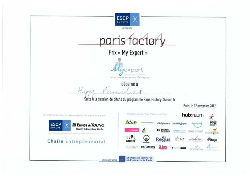 "Prix ""MyExpert"" pour Happy Families - ESCP Paris Business Factory"