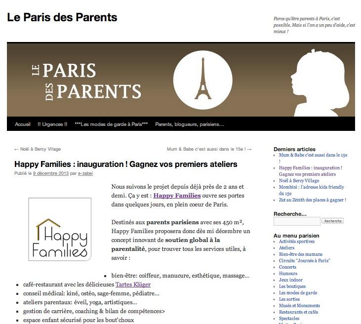 Happy Families - Article Paris des Parents