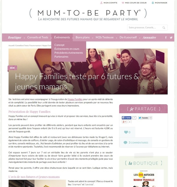 Happy Families - Article Mum-To-Be Party