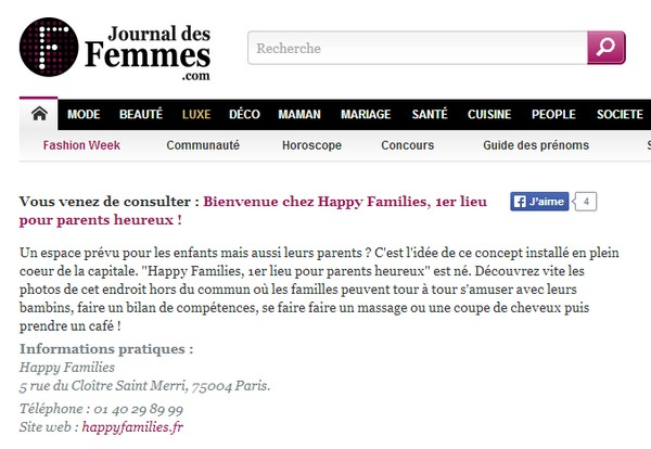 Happy Families - Article Le Journal des Femmes